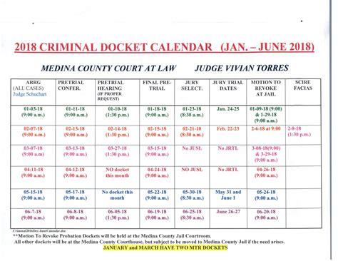Medina County Court Records 2018 Criminal Docket Calendar