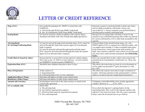Letter Of Credit In Pdf Format Letter Of Credit Reference Sle Templates