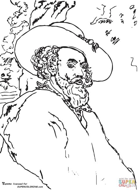 self portrait by peter paul rubens coloring online super