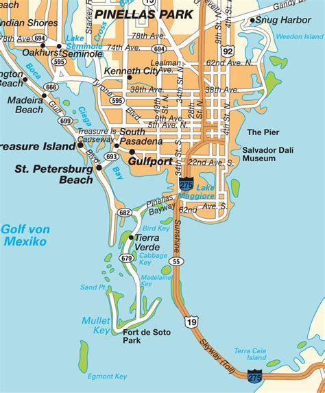 Carte Saint Petersburg, Florida, USA États Unis d´Amérique. Cartes, plans et itinéraires hot maps.