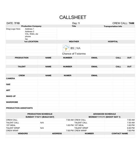 simple call sheet template call sheets by don rorke march on