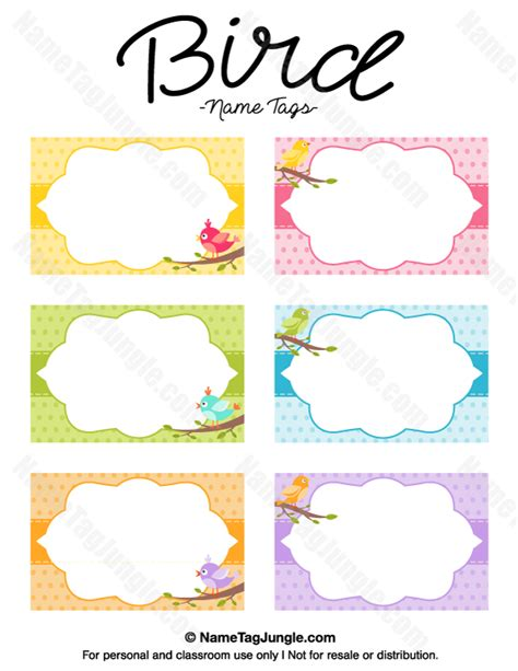 bird place card template printable bird name tags