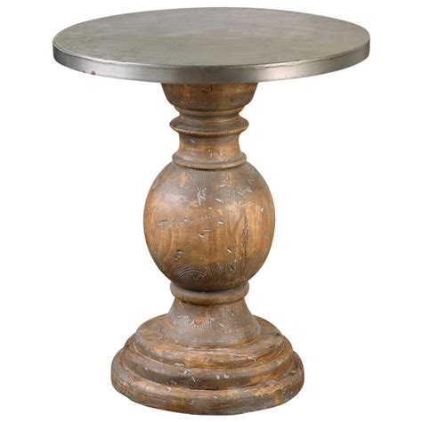 unfinished pedestal end table colt industrial loft rustic aluminum pedestal side table