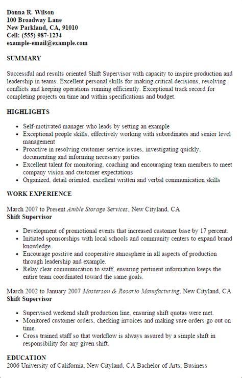 Shift Supervisor Resume by Shift Supervisor My Resume