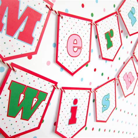 printable garland letters items similar to merry wishes banner garland printable