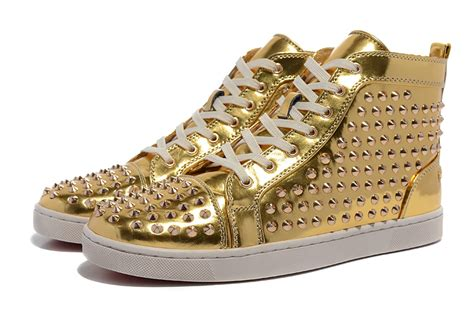 patent leather gold spikes bottom flat high