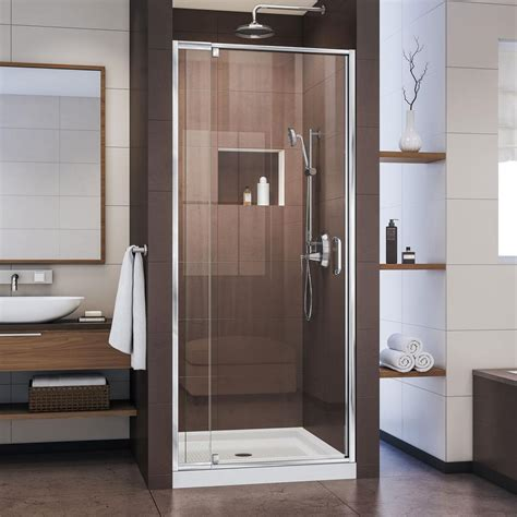 28 Shower Door Dreamline Flex 28 In To 32 In X 72 In Framed Pivot Shower Door In Chrome Shdr 22287200 01