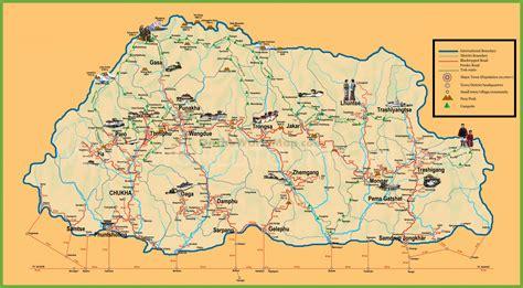 where is bhutan on a world map tourist map of bhutan