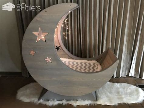 starry night pallet  moon cradle diy pallet bed