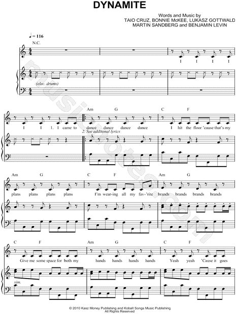 printable lyrics dynamite taio cruz quot dynamite quot sheet music in a minor transposable