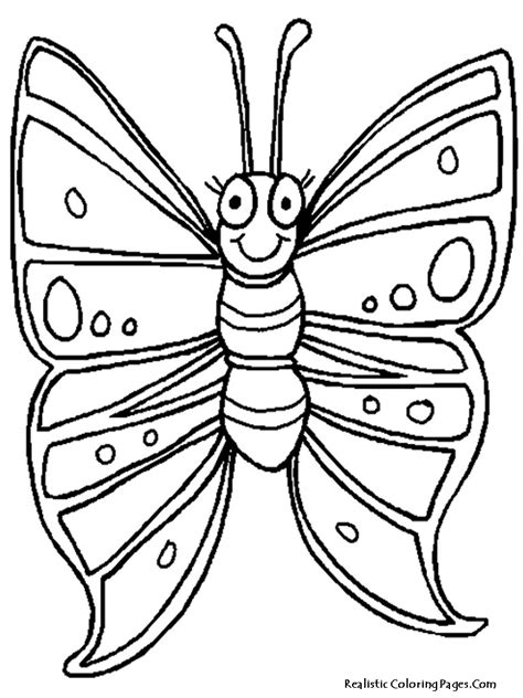 realistic butterfly coloring pages children smiling cute coloring pages