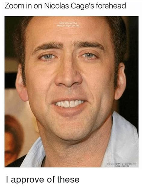 Nicolas Cage Face Meme - zoom in on nicolas cage s forehead i approve of these