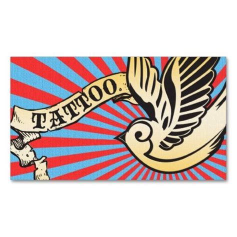 sparrow tattoo loyalty card business card template