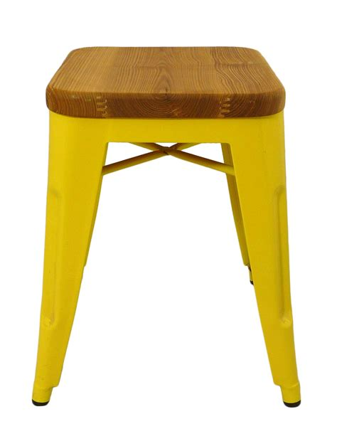 Greenish Yellow Stool by Replica Xavier Pauchard Stool Wood Seat 45cm