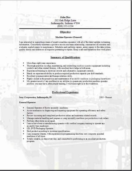 resume template for machine operator machine operator resume occupational exles sles free edit with word