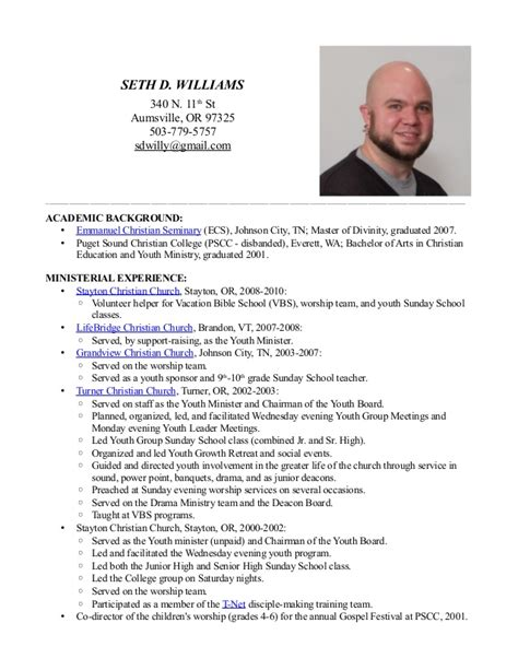 pastor resume template seth d williams ministry resume