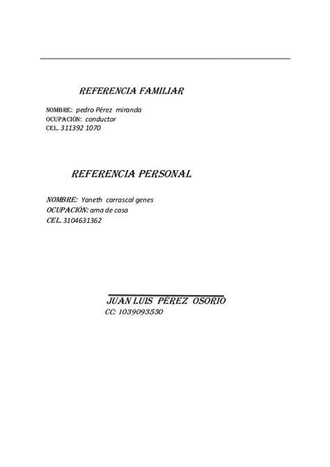 cartas de referencias personal