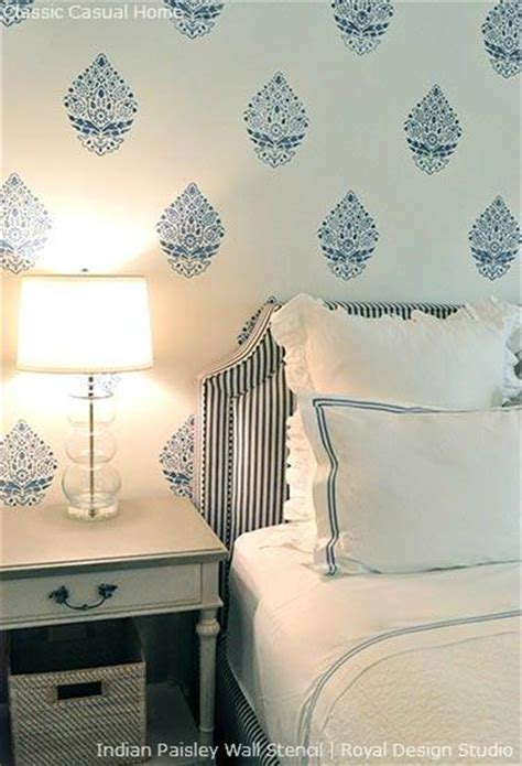 wall stencils for bedrooms stencil a perfectly pretty indian paisley wall pattern