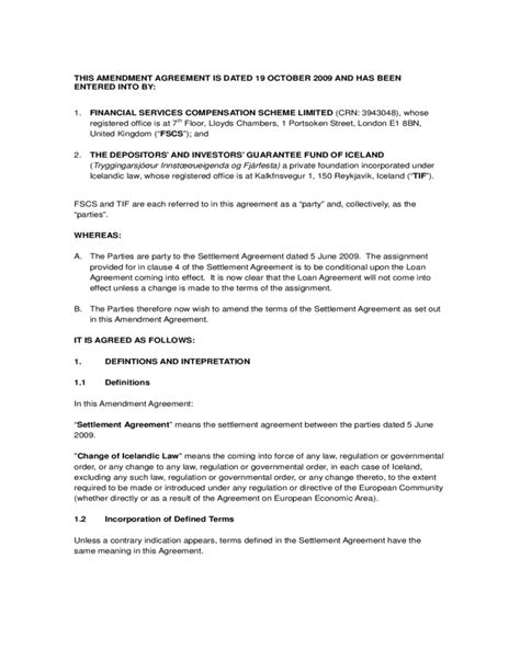 amendment agreement template amendment agreement sle free
