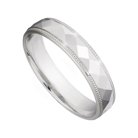 9ct white gold 4mm cut wedding ring