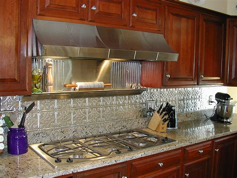 metal tiles for kitchen backsplash photos of kitchens with metal backsplashes aluminum copper