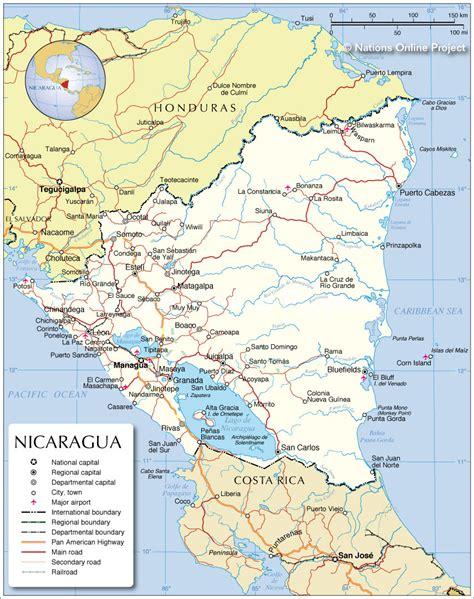 political map of nicaragua nicaragua politische karte