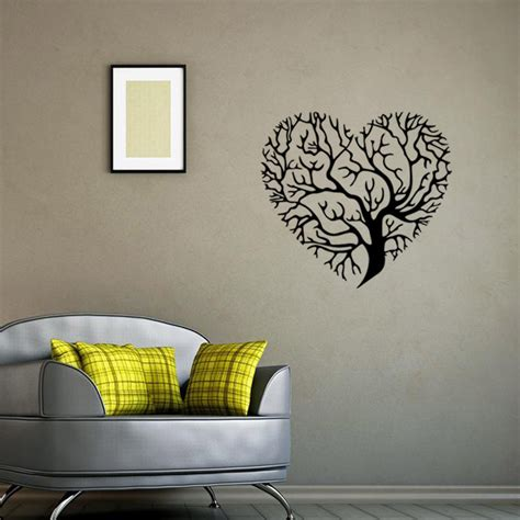 fashion red love heart wall stickers home decor life tree aw9476 fashion love heart tree wall decor vintage life