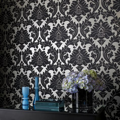 black damask wallpaper home decor using damask wallpaper in your home damask com au