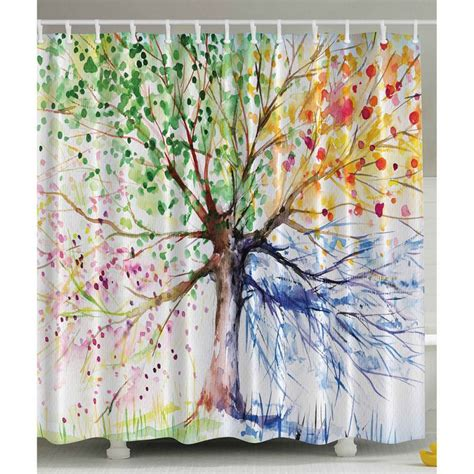 colorful fabric shower curtains bathroom waterproof multi color tree pattern fabric shower
