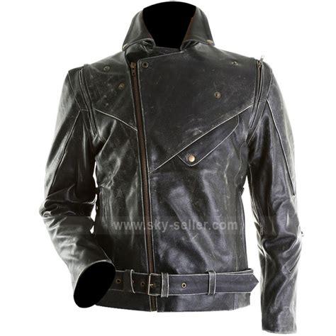 black leather motorcycle men distressed slim fit black biker leather jacket