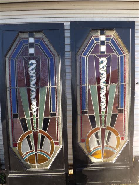 Exceptional Pair Of Art Deco Doors Stained Glass 258710 Deco Glass Doors