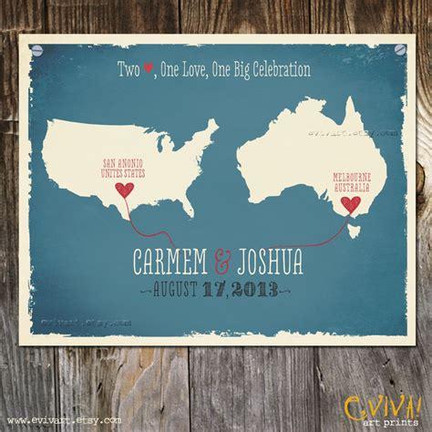 Wedding Gift Usa by Usa Australia Custom Wedding Print Destination Wedding Gift