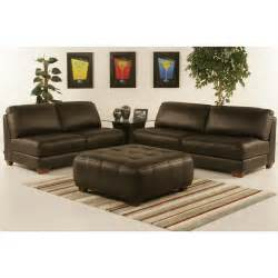 armless all leather tufted seat sofa and loveseat with