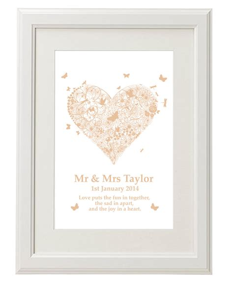 unique personalised print wedding 1st anniversary gifts ideas present 705625171387 ebay