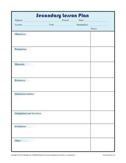 lesson plan template college teachers daily lesson plan template with subject grid secondary