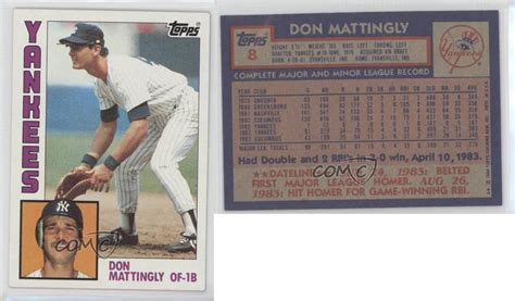 1984 Don Mattingly Topps by 1984 Topps 8 Don Mattingly New York Yankees Rc Rookie