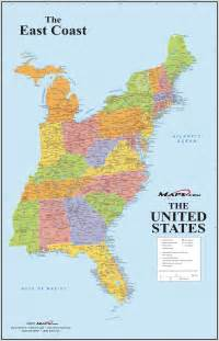 east coast states in us map east coast usa wall map maps