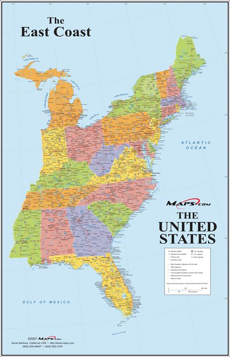 map us east coast major cities east coast usa wall map maps