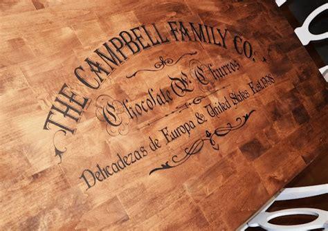 stencil custom family name on table diy