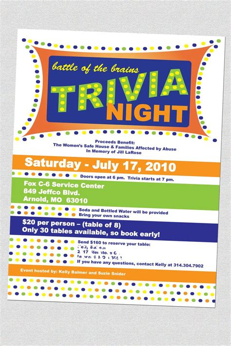 trivia night flyers fundraising pinterest night