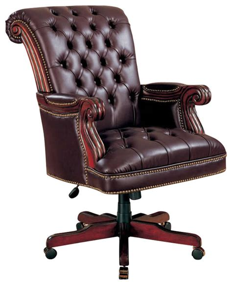 Leather Executive Desk Chair by Coaster Traditional Executive Chair Brown Traditional