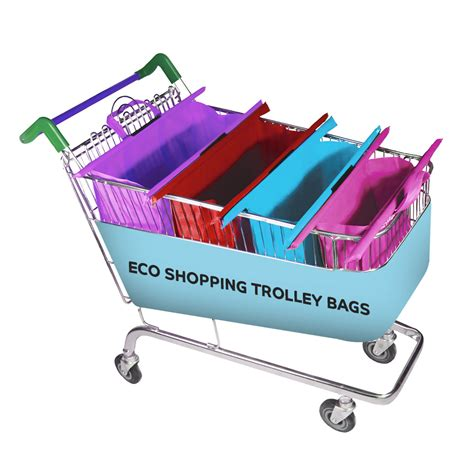 Trolley Eco Bag ready stock eco bag 4s trolley shopping bags roll up