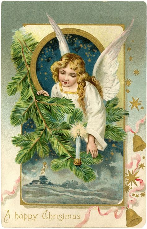 vintage angel postcard christmas  graphics fairy