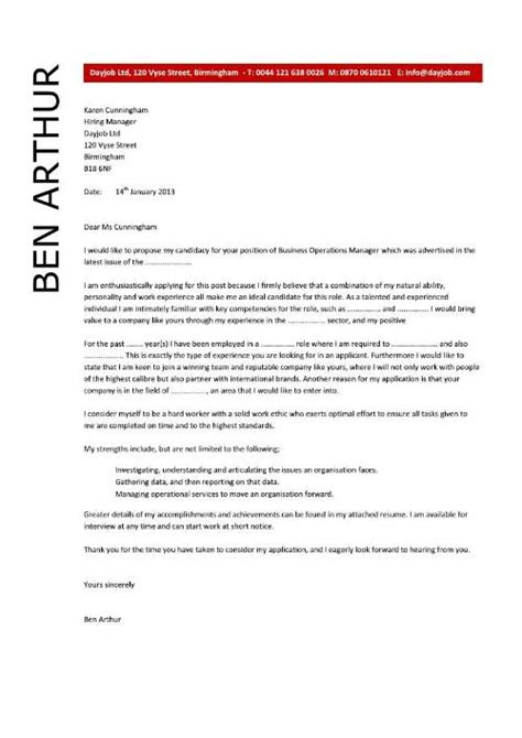 Cover Letter Operations Manager by Business Operations Manager Resume Exles Cv Templates Sles