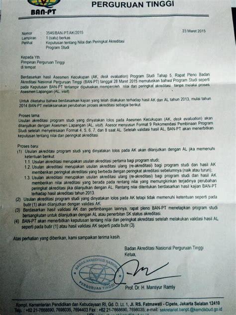 Surat Akreditasi Ban Pt by Prodi Ilmu Administrasi Bisnis Raih Peringkat A Ban Pt