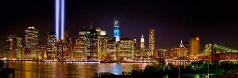 nyc lights new york city tribute in lights and lower manhattan at