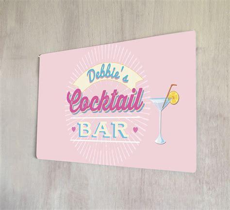 martini bar sign personalised pink cocktail bar name sign