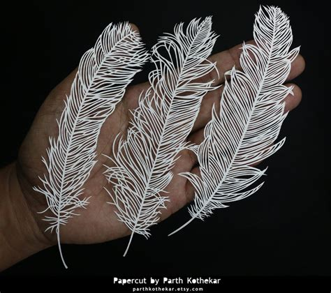 Paper Cut Crafts - papercut craft papercutting paper feathers by