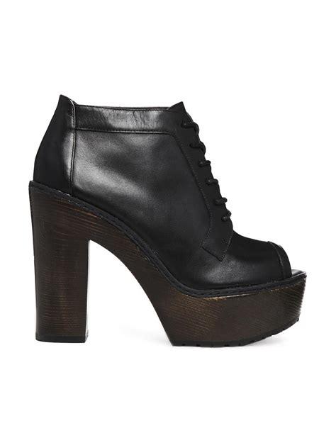 aldo peep toe wood platform shoe boots in black lyst