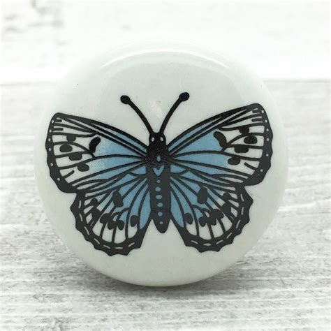 big butterfly ceramic door knob cupboard drawer handle by